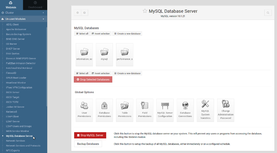 Webmin: MySQL Database Server