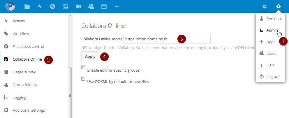 Configurer Collabora Online dans Nextcloud