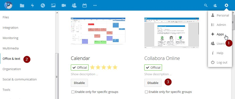 Installer Application Nextcloud pour Collabora Online