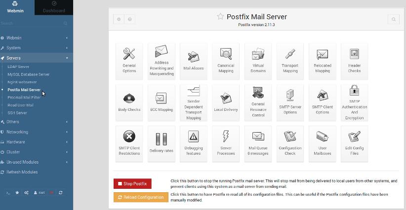 Webmin: Postfix Mail Server